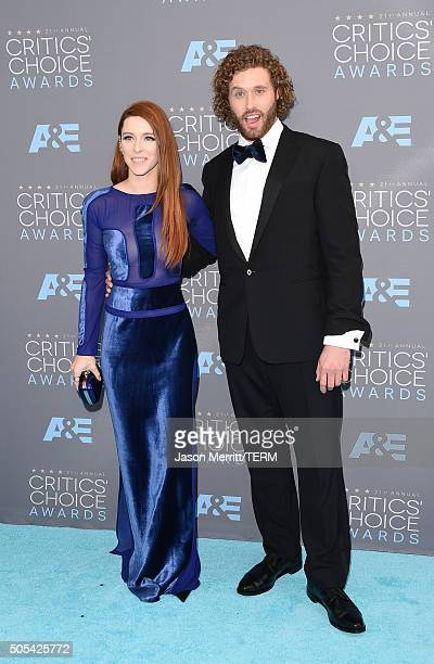 Actress Kate Gorney and host T J Miller attend the 21st Annual Critics' Choice Awards at Barker Hangar on January 17 2016 in Santa Monica California