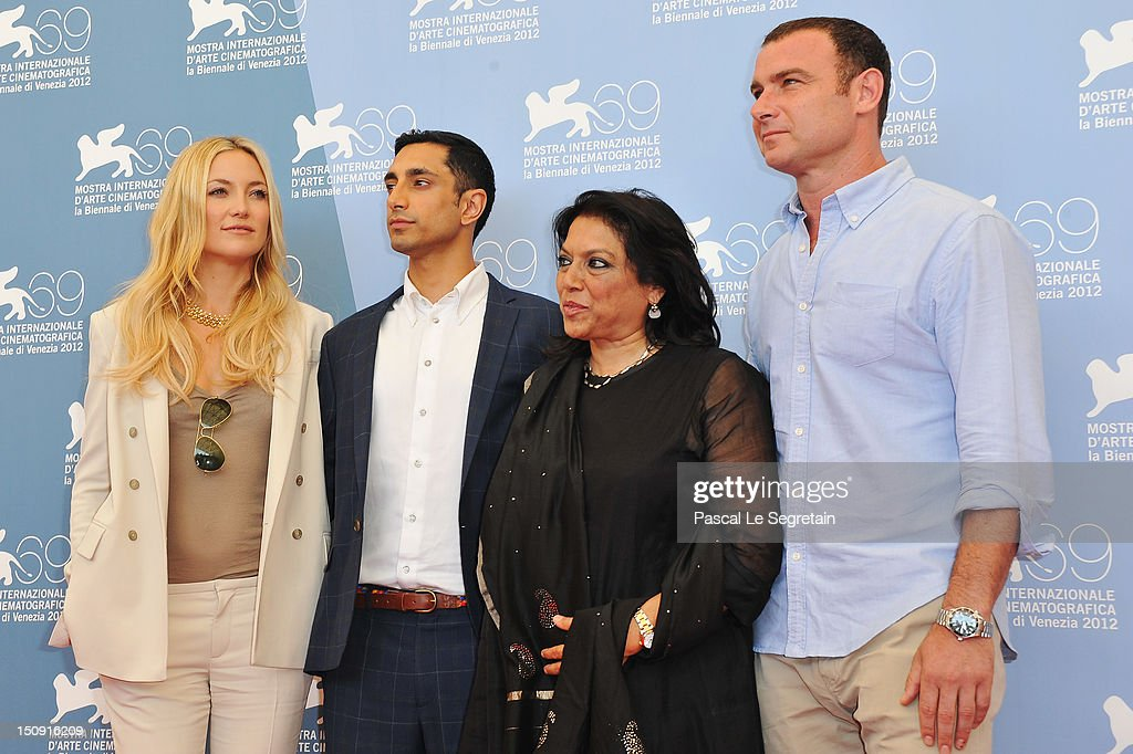 Actress <a gi-track='captionPersonalityLinkClicked' href=/galleries/search?phrase=Kate+Hudson&family=editorial&specificpeople=156407 ng-click='$event.stopPropagation()'>Kate Hudson</a>, actor Riz Ahmed, director <a gi-track='captionPersonalityLinkClicked' href=/galleries/search?phrase=Mira+Nair&family=editorial&specificpeople=214181 ng-click='$event.stopPropagation()'>Mira Nair</a> and actor <a gi-track='captionPersonalityLinkClicked' href=/galleries/search?phrase=Liev+Schreiber&family=editorial&specificpeople=203259 ng-click='$event.stopPropagation()'>Liev Schreiber</a> attend 'The Reluctant Fundamentalist' Photocall during the 69th Venice International Film Festival at Palazzo del Casino on August 29, 2012 in Venice, Italy.
