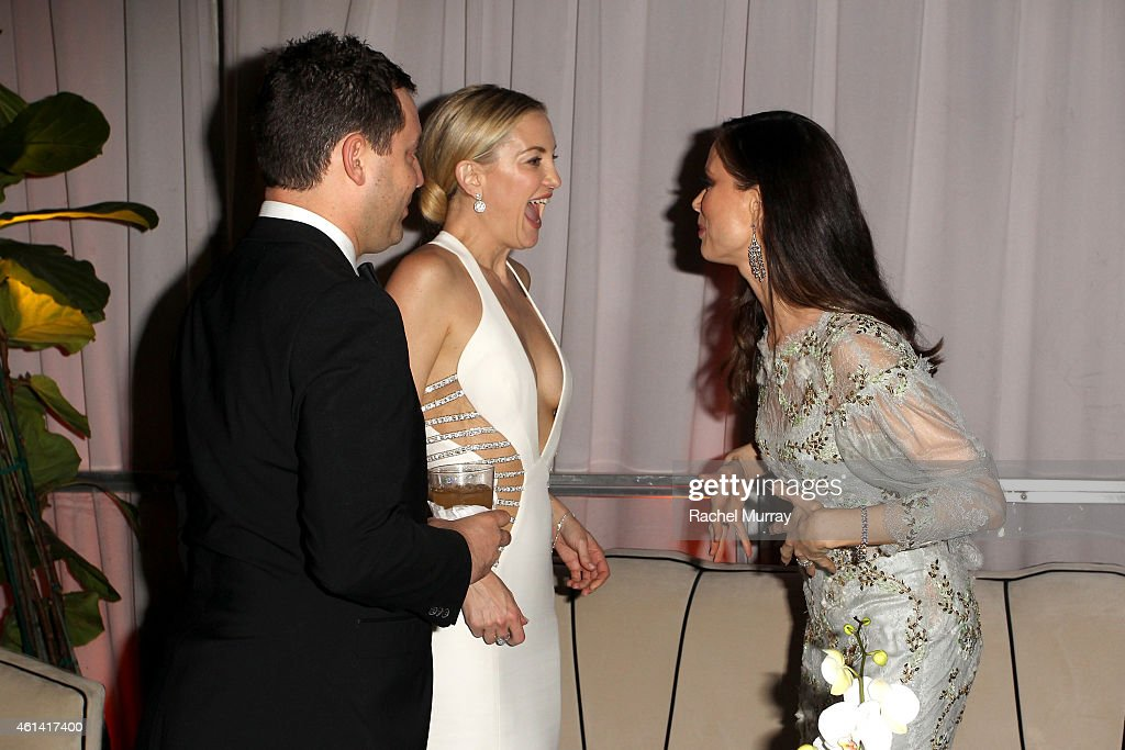 Actress Kate Hudson and designer Georgina Chapman attend The Weinstein Company Netflix's 2015 Golden Globes After Party presented by FIJI Water Lexus...