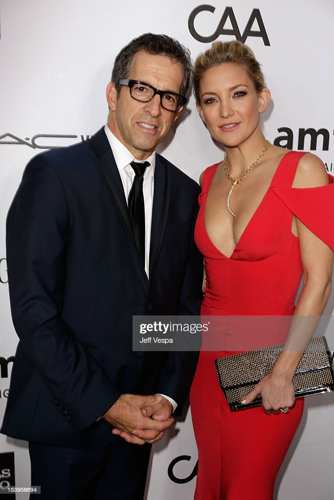 Actress <a gi-track='captionPersonalityLinkClicked' href=/galleries/search?phrase=Kate+Hudson&family=editorial&specificpeople=156407 ng-click='$event.stopPropagation()'>Kate Hudson</a> (R) and Designer/amFAR Chairman Kenneth Cole arrive at amfAR's Inspiration Gala at Milk Studios on October 11, 2012 in Los Angeles, California.