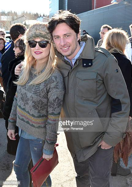 Actress Kate Hudson and director Zach Braff attend the premiere of 'Wish I Was Here' at The Marc Theatre during the 2014 Sundance Film Festival on...