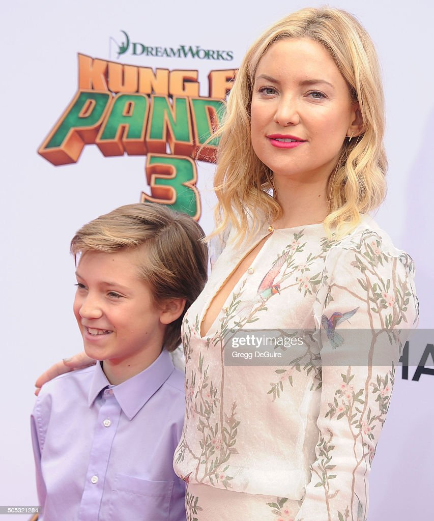 Actress Kate Hudson and son Ryder Robinson arrive at the premiere of 20th Century Fox's 'Kung Fu Panda 3' at TCL Chinese Theatre on January 16 2016...