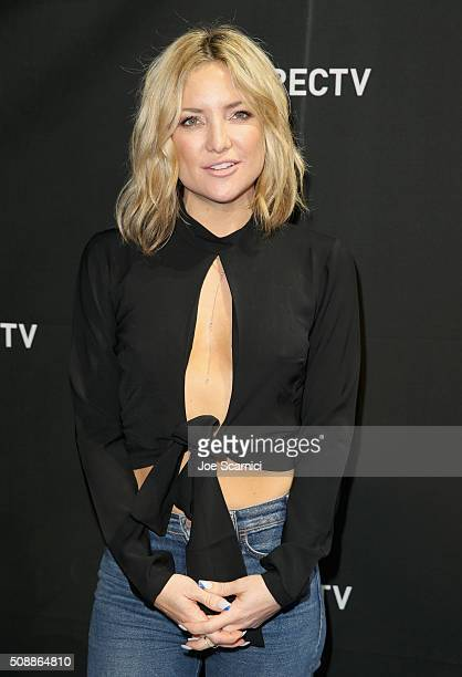 Actress Kate Hudson attends DirecTV Super Saturday Night Cohosted by Mark Cuban's AXS TV at Pier 70 on February 6 2016 in San Francisco California
