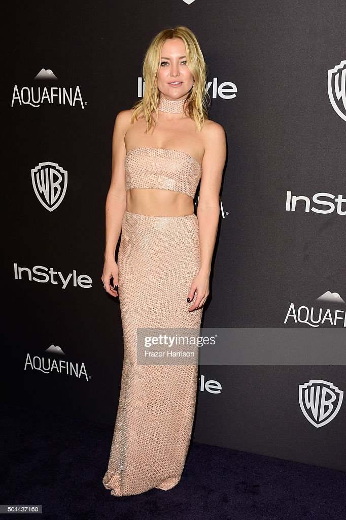 Actress Kate Hudson attends InStyle and Warner Bros 73rd Annual Golden Globe Awards PostParty at The Beverly Hilton Hotel on January 10 2016 in...