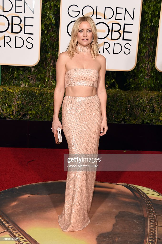 Actress <a gi-track='captionPersonalityLinkClicked' href=/galleries/search?phrase=Kate+Hudson&family=editorial&specificpeople=156407 ng-click='$event.stopPropagation()'>Kate Hudson</a> attends the 73rd Annual Golden Globe Awards held at the Beverly Hilton Hotel on January 10, 2016 in Beverly Hills, California.