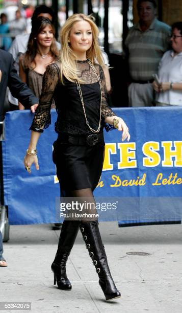 Actress Kate Hudson departs 'The Late Show with David Letterman' August 8 2005 in New York City