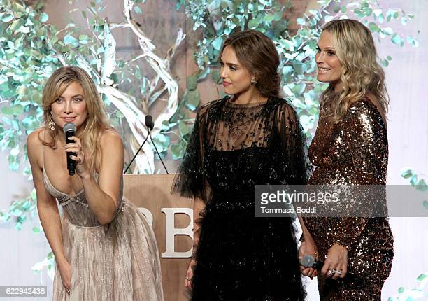 Actress Kate Hudson founder of The Honest Company Jessica Alba and model Molly Sims speak onstage during the Fifth Annual Baby2Baby Gala Presented By...
