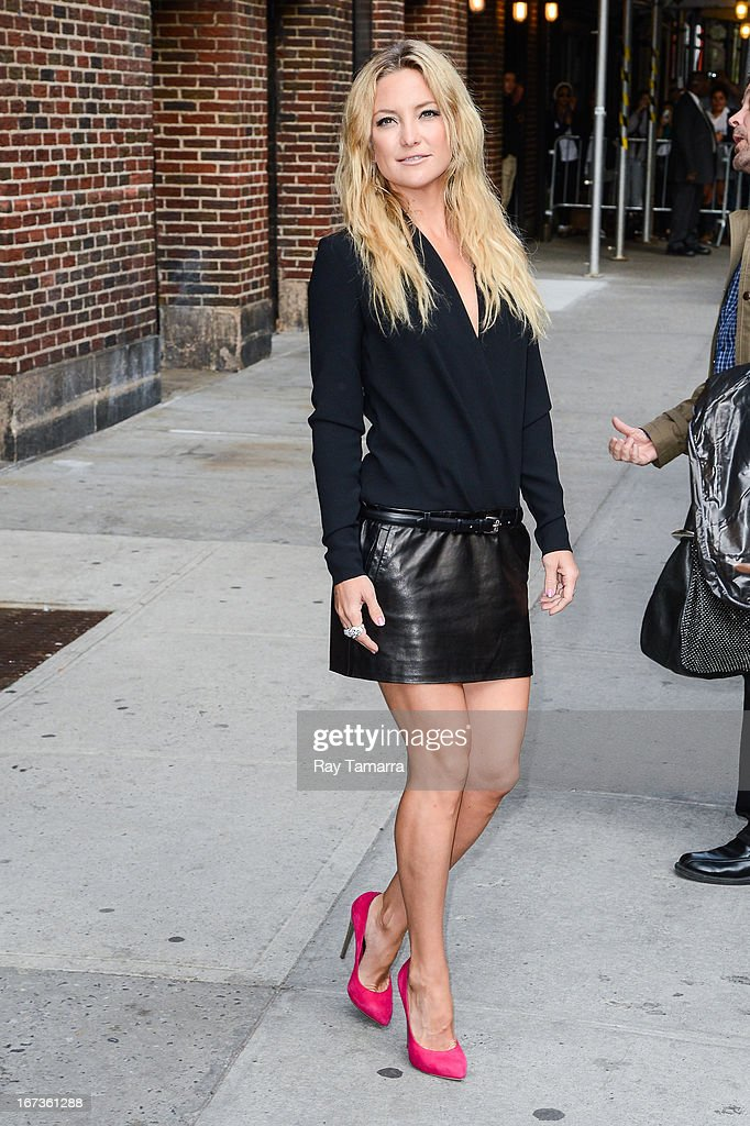 Actress <a gi-track='captionPersonalityLinkClicked' href=/galleries/search?phrase=Kate+Hudson&family=editorial&specificpeople=156407 ng-click='$event.stopPropagation()'>Kate Hudson</a> leaves the 'Late Show With David Letterman' taping at the Ed Sullivan Theater on April 24, 2013 in New York City.