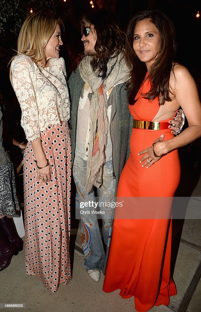 Actress Kate Hudson, musician Steven Tyler and owner/designer of Chrome Hearts Laurie Lynn Stark attend Chrome Hearts & Kate Hudson Host Garden Party To Celebrate Collaboration at Chrome Hearts on May 8, 2014 in Los Angeles, California.