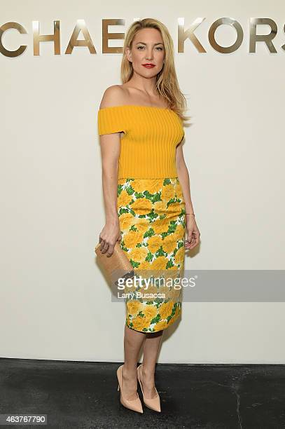Actress Kate Hudson poses backstage at the Michael Kors fashion show during MercedesBenz Fashion Week Fall 2015 at Spring Studios on February 18 2015...