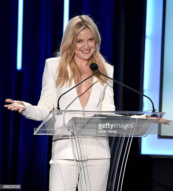 Actress Kate Hudson speaks onstage during the 29th American Cinematheque Award honoring Reese Witherspoon at the Hyatt Regency Century Plaza on...