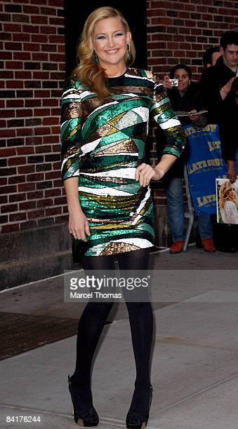Actress Kate Hudson visits 'Late Show with David Letterman' at the Ed Sullivan Theater on January 5 2009 in New York City