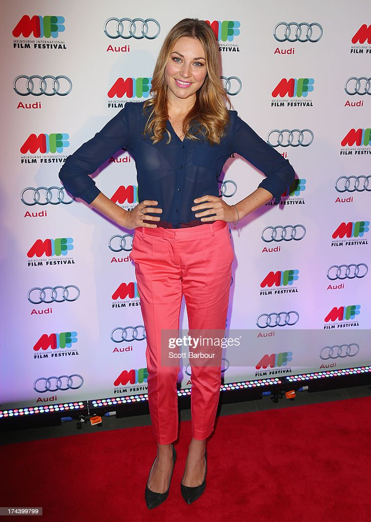 Actress Kate Jenkinson arrives at the Australian premiere of 'I'm So Excited' on opening night of the Melbourn International Film Festival at Hamer Hall on July 25, 2013 in Melbourne, Australia.