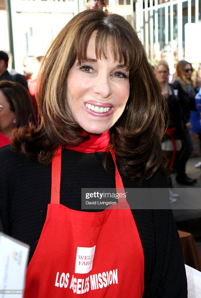 Actress Kate Linder attends Thanksgiving for the Homeless at the Los Angeles Mission on November 25 2015 in Los Angeles California