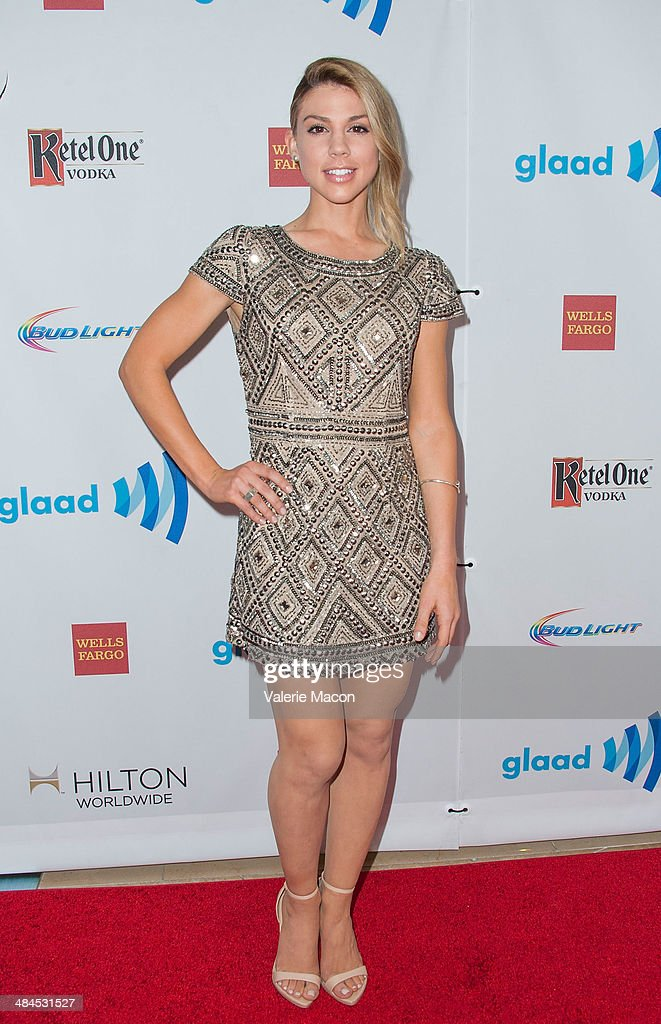 Actress <a gi-track='captionPersonalityLinkClicked' href=/galleries/search?phrase=Kate+Mansi&family=editorial&specificpeople=7511300 ng-click='$event.stopPropagation()'>Kate Mansi</a> arrives at the 25th Annual GLAAD Media Awards at The Beverly Hilton Hotel on April 12, 2014 in Beverly Hills, California.