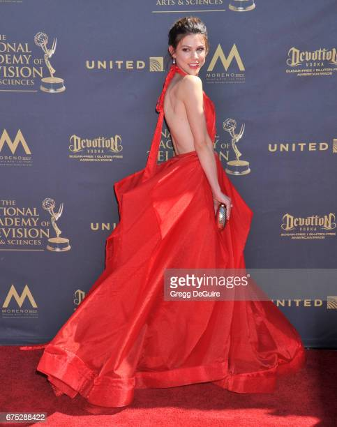 Actress Kate Mansi arrives at the 44th Annual Daytime Emmy Awards at Pasadena Civic Auditorium on April 30 2017 in Pasadena California
