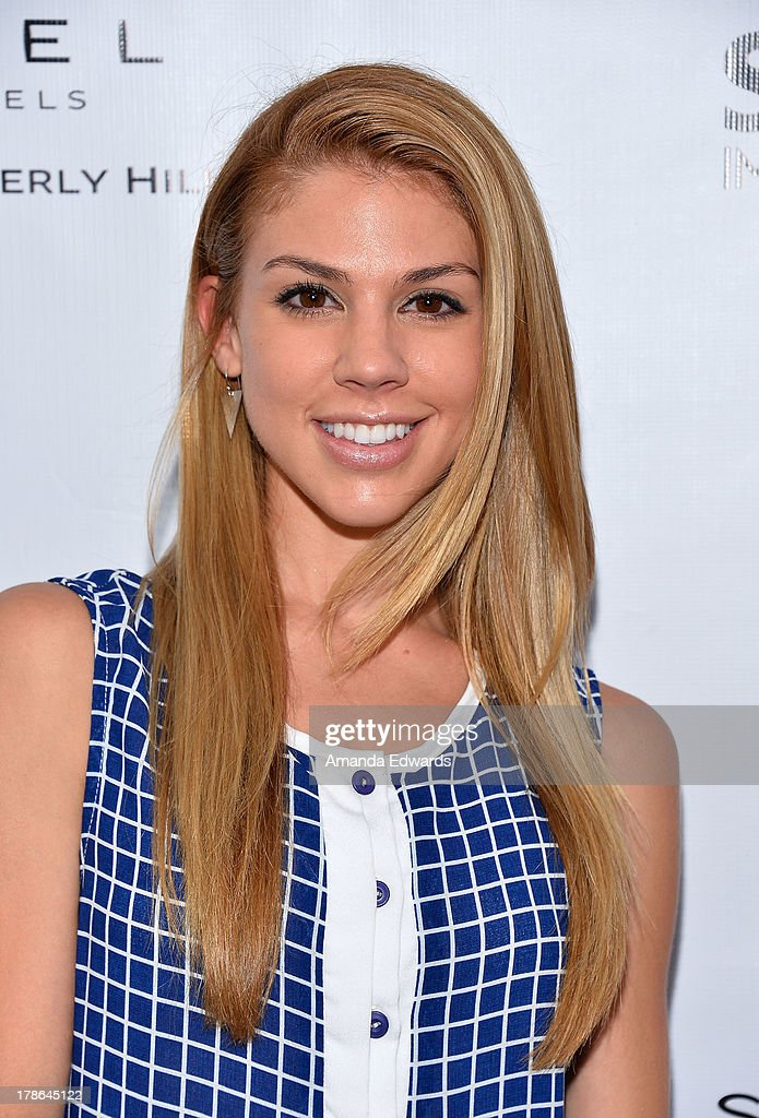 Actress Kate Mansi arrives at the Genlux Magazine release party with Erika Christensen at Sofitel Hotel on August 29, 2013 in Los Angeles, California.