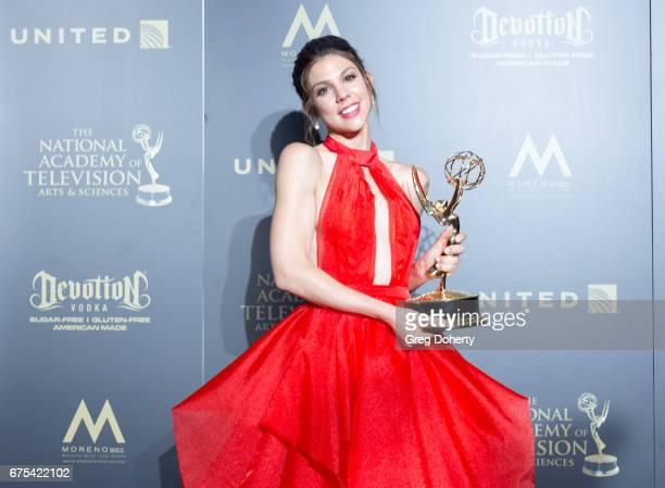Actress Kate Mansi displays her Emmy Award at the 44th Annual Daytime Emmy Awards at Pasadena Civic Auditorium on April 30 2017 in Pasadena California