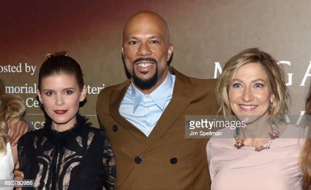 Actress Kate Mara actor/rapper Common and actress Edie Falco attend the 'Megan Leavey' world premiere at Yankee Stadium on June 5 2017 in New York...