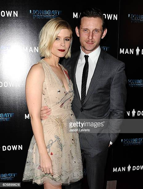 Actress Kate Mara and actor Jamie Bell attend the premiere of 'Man Down' at ArcLight Hollywood on November 30 2016 in Hollywood California