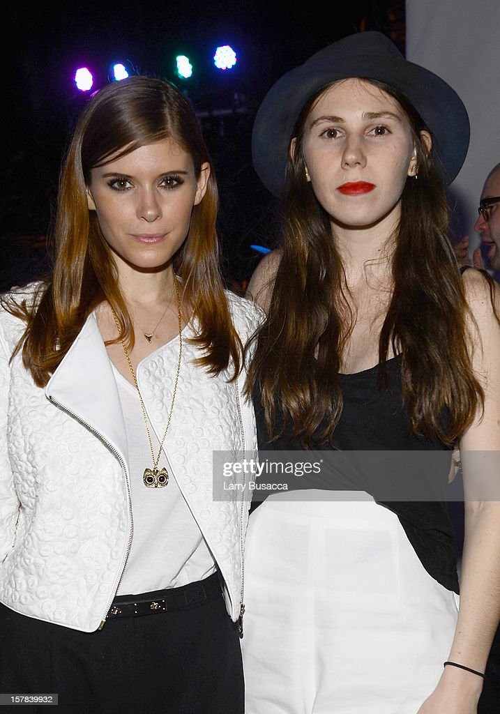 Actress <a gi-track='captionPersonalityLinkClicked' href=/galleries/search?phrase=Kate+Mara&family=editorial&specificpeople=544680 ng-click='$event.stopPropagation()'>Kate Mara</a> and <a gi-track='captionPersonalityLinkClicked' href=/galleries/search?phrase=Zosia+Mamet&family=editorial&specificpeople=7439328 ng-click='$event.stopPropagation()'>Zosia Mamet</a> attend the Carrera Cocktail Party hosted by AD Oasis at The Raleigh on December 6, 2012 in Miami, Florida.