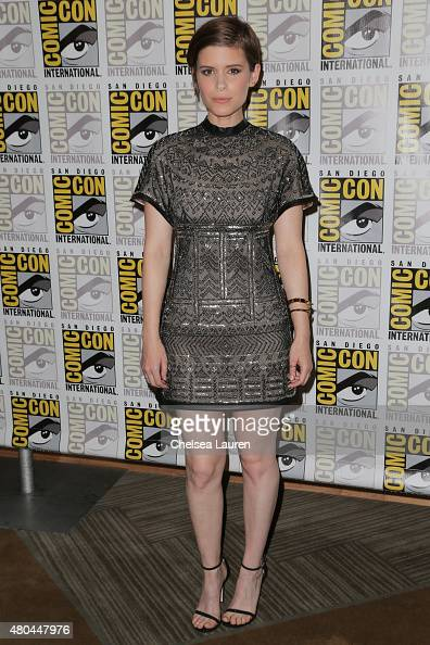 Actress Kate Mara arrives at the 'Fantastic Four' press room during ComicCon International on July 11 2015 in San Diego California