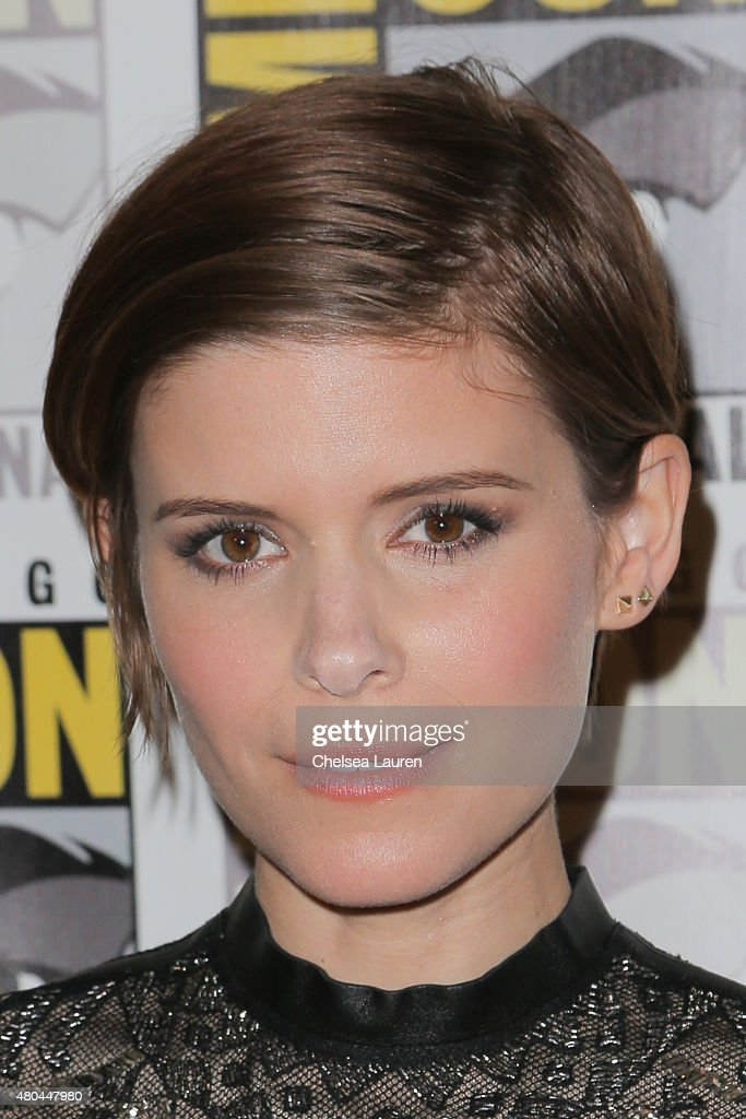 Actress Kate Mara arrives at the 'Fantastic Four' press room during Comic-Con International on July 11, 2015 in San Diego, California.
