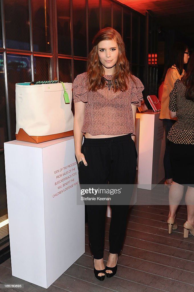Actress <a gi-track='captionPersonalityLinkClicked' href=/galleries/search?phrase=Kate+Mara&family=editorial&specificpeople=544680 ng-click='$event.stopPropagation()'>Kate Mara</a> attends Coach's 3rd Annual Evening of Cocktails and Shopping to Benefit the Children's Defense Fund hosted by Katie McGrath, J.J. Abrams and Bryan Burk at Bad Robot on April 10, 2013 in Santa Monica, California.