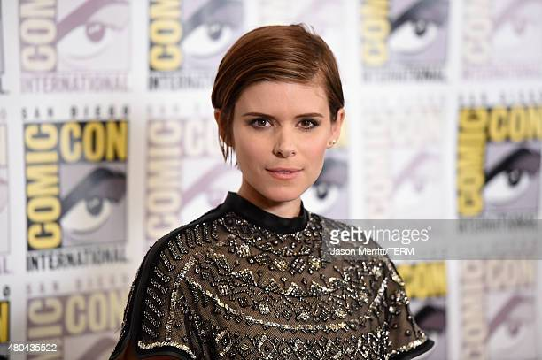 Actress Kate Mara attends the 20th Century Fox press room during ComicCon International 2015 at the Hilton Bayfront on July 11 2015 in San Diego...