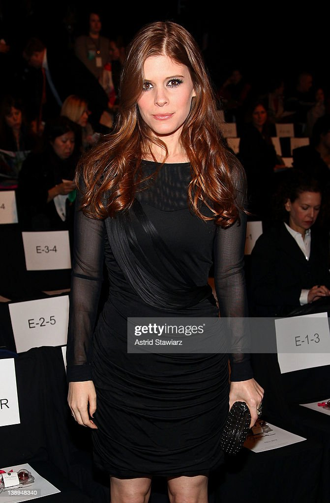 Actress <a gi-track='captionPersonalityLinkClicked' href=/galleries/search?phrase=Kate+Mara&family=editorial&specificpeople=544680 ng-click='$event.stopPropagation()'>Kate Mara</a> attends the Badgley Mischka Fall 2012 fashion show during Mercedes-Benz Fashion Week at The Theatre at Lincoln Center on February 14, 2012 in New York City.