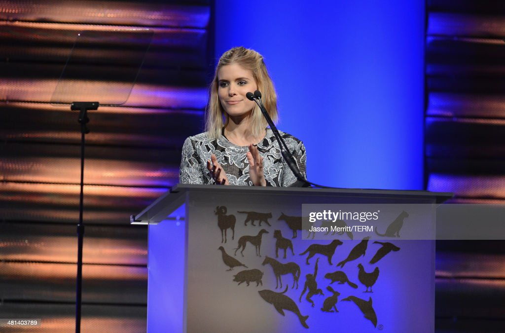 Actress <a gi-track='captionPersonalityLinkClicked' href=/galleries/search?phrase=Kate+Mara&family=editorial&specificpeople=544680 ng-click='$event.stopPropagation()'>Kate Mara</a> speaks onstage at the Humane Society of The United States 60th Anniversary Gala at The Beverly Hilton Hotel on March 29, 2014 in Beverly Hills, California.