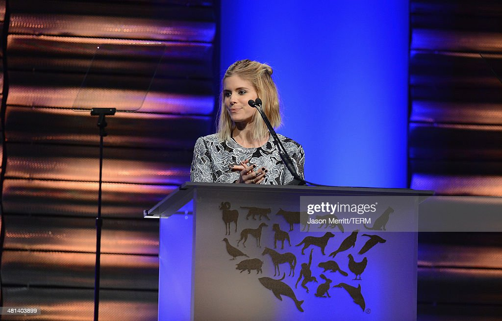 Actress Kate Mara speaks onstage at the Humane Society of The United States 60th Anniversary Gala at The Beverly Hilton Hotel on March 29 2014 in...