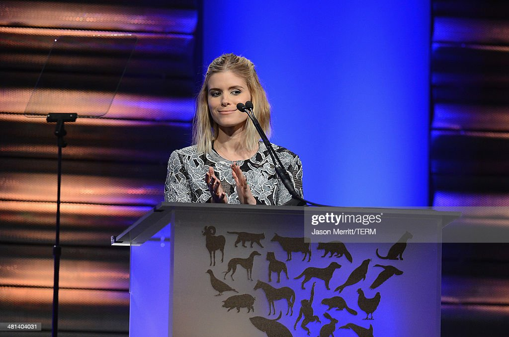 Actress Kate Mara speaks onstage at the Humane Society of The United States 60th Anniversary Gala at The Beverly Hilton Hotel on March 29, 2014 in Beverly Hills, California.