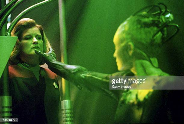 Actress Kate Mulgrew Stars As And Susanna Thompson Stars As In United Paramount Network's SciFi Television Series 'Star Trek Voyager' Episode...