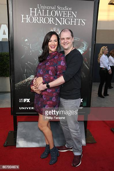 Actress Kate Siegel and director Mike Flanagan attend the opening night celebration of 'Halloween Horror Nights' at Universal Studios Hollywood on...