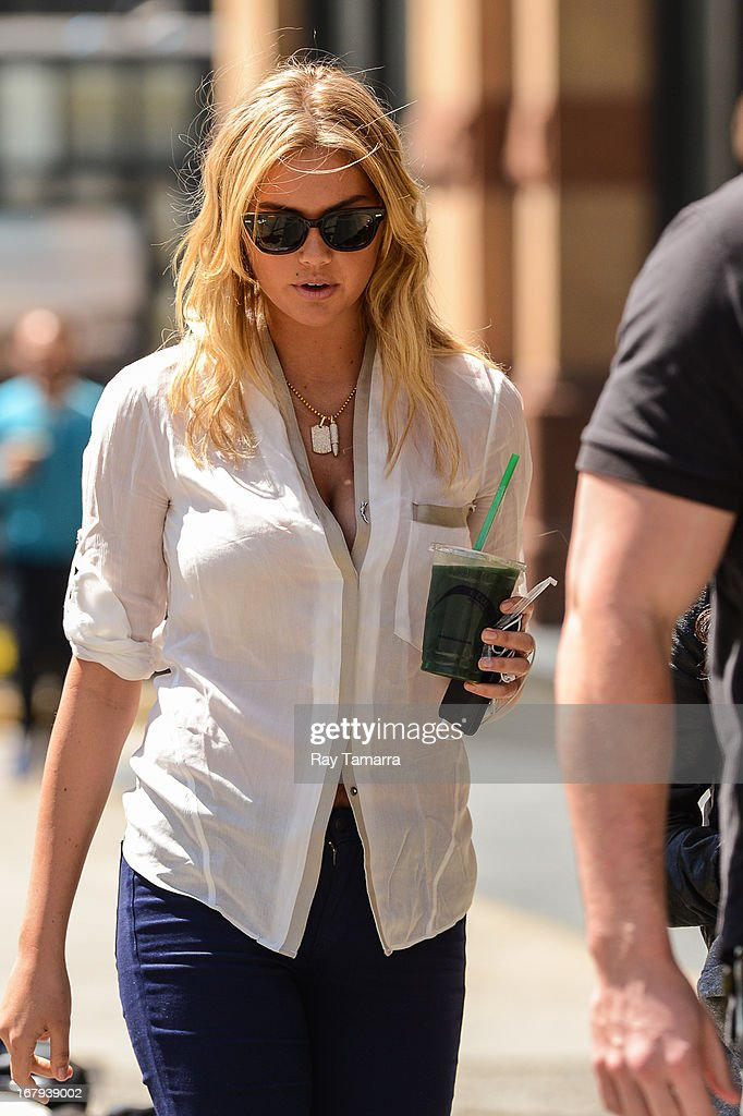 Actress Kate Upton enters her trailer at 'The Other Woman' movie set in Tribeca on May 2, 2013 in New York City.