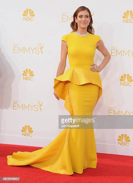 Actress Kate Walsh arrives at the 66th Annual Primetime Emmy Awards at Nokia Theatre LA Live on August 25 2014 in Los Angeles California