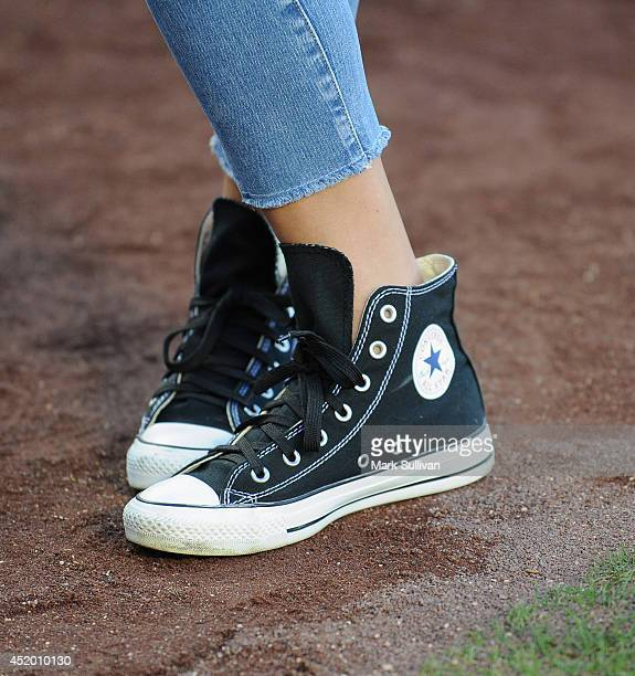 Actress Kate Walsh before the game between the San Diego Padres and Los Angeles Dodgers at Dodger Stadium on July 10 2014 in Los Angeles California