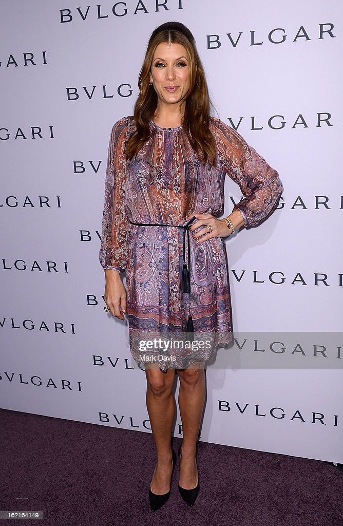 Actress Kate Walsh, wearing BVLGARI, arrives at the BVLGARI celebration of Elizabeth Taylor's collection of BVLGARI jewelry at BVLGARI Beverly Hills on February 19, 2013 in Los Angeles, California.