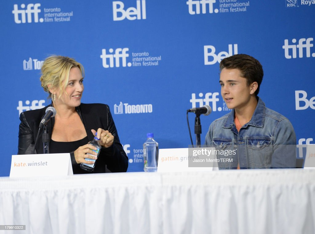 Actress Kate Winslet and actor Gattlin Griffith speak onstage at 'Labor Day' Press Conference during the 2013 Toronto International Film Festival at TIFF Bell Lightbox on September 7, 2013 in Toronto, Canada.