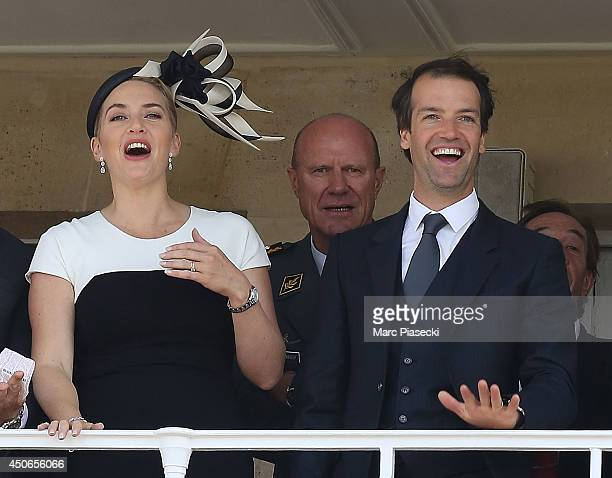 Actress Kate Winslet and husband Ned Rocknroll attend the 'Prix de Diane Longines 2014' at Hippodrome de Chantilly on June 15 2014 in Chantilly France