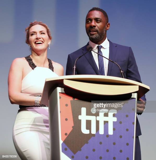 Actress Kate Winslet and Idris Elba speak during the introduction of 'The Mountain Between Us' during the 2017 Toronto International Film Festival at...