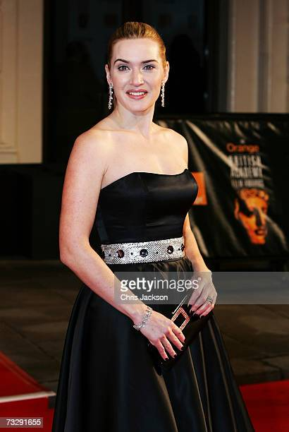 Actress Kate Winslet arrives at the Orange British Academy Film Awards at the Royal Opera House on February 11 2007 in London England