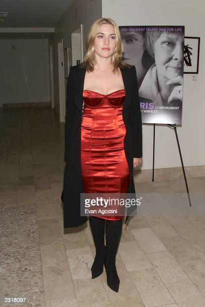 Actress Kate Winslet arriving at the world film premiere of Miramax's 'Iris' afterparty at the Fred's in New York City 12/2/2001 Photo Evan...
