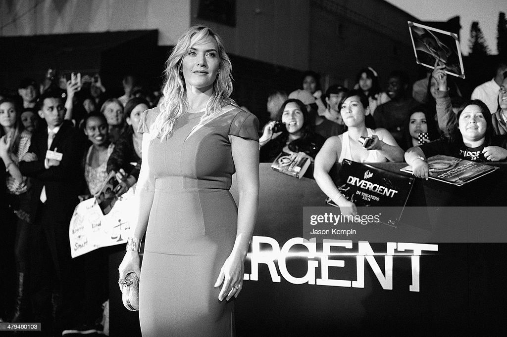 Actress <a gi-track='captionPersonalityLinkClicked' href=/galleries/search?phrase=Kate+Winslet&family=editorial&specificpeople=201923 ng-click='$event.stopPropagation()'>Kate Winslet</a> attends Summit Entertainment's 'Divergent' Premiere at Regency Bruin Theatre on March 18, 2014 in Los Angeles, California.