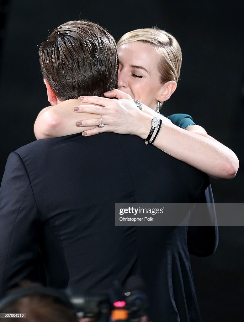 Actress Kate Winslet congratulates Actor Leonardo DiCaprio after he wins the award for Outstanding Performance by a Male Actor in a Leading Role for...