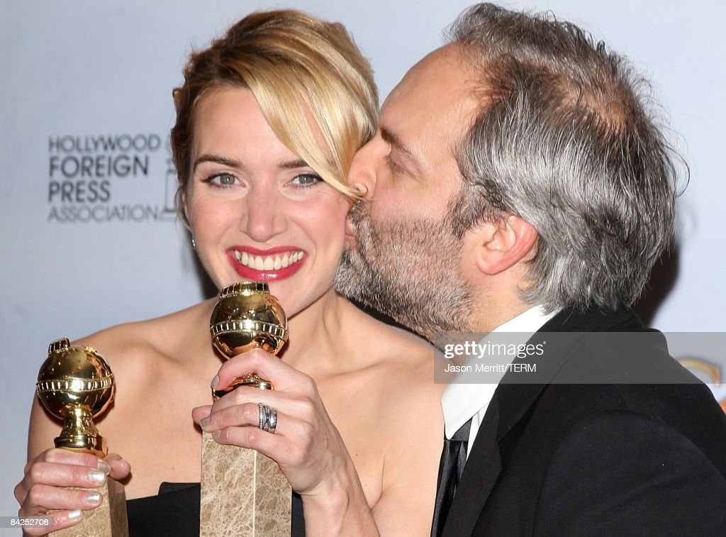 Actress Kate Winslet, double winner Best Performance by an Actress in a Motion Picture - Drama for 'Revolutionary Road' and Best Performance by an Actress In A Supporting Role in a Motion Picture for 'The Reader,' poses with husband director Sam Mendes in the press room at the 66th Annual Golden Globe Awards held at the Beverly Hilton Hotel on January 11, 2009 in Beverly Hills, California.