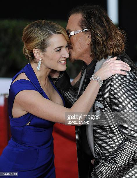 Actress Kate Winslet greets actor Mickey Rourke as they arrive at the 15th Annual Screen Actors Guild Awards at the Shrine Auditorium in Los Angeles...