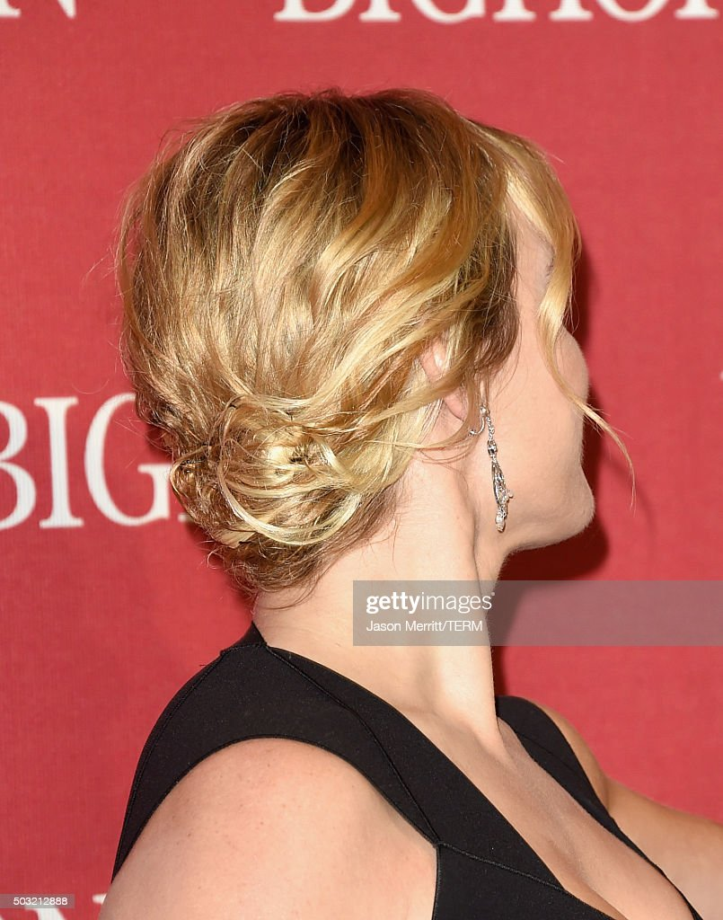 Actress Kate Winslet hair detail attends the 27th Annual Palm Springs International Film Festival Awards Gala at Palm Springs Convention Center on...