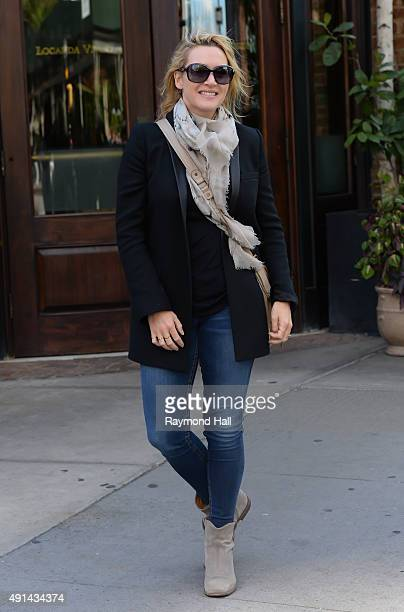 Actress Kate Winslet is seen walking on her Birthday in Soho Kate on October 5 2015 in New York City